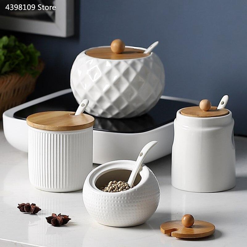Seasoning Jar Sugar-Bowl Olive-Oil-Bottle Kitchen-Supplies Wood Shaker/ceramic Household