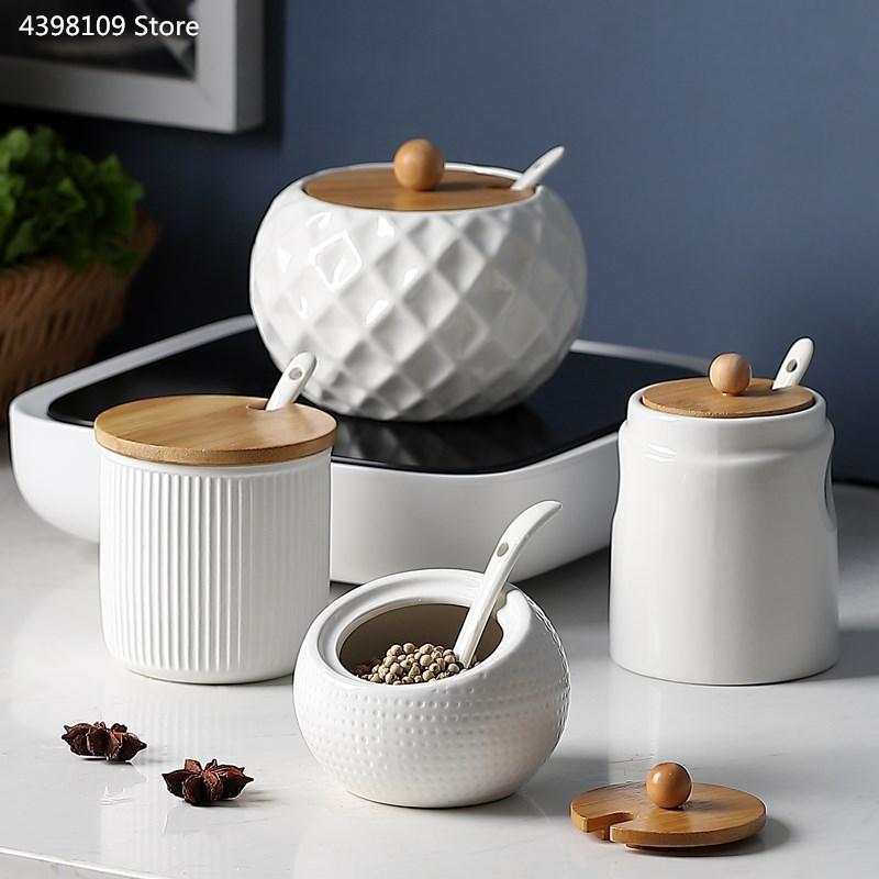 Household kitchen supplies salt shaker / ceramic wood cover seasoning jar olive oil bottle sugar bowl kitchen seasoning tools-in Salt Pigs, Cellars & Servers from Home & Garden