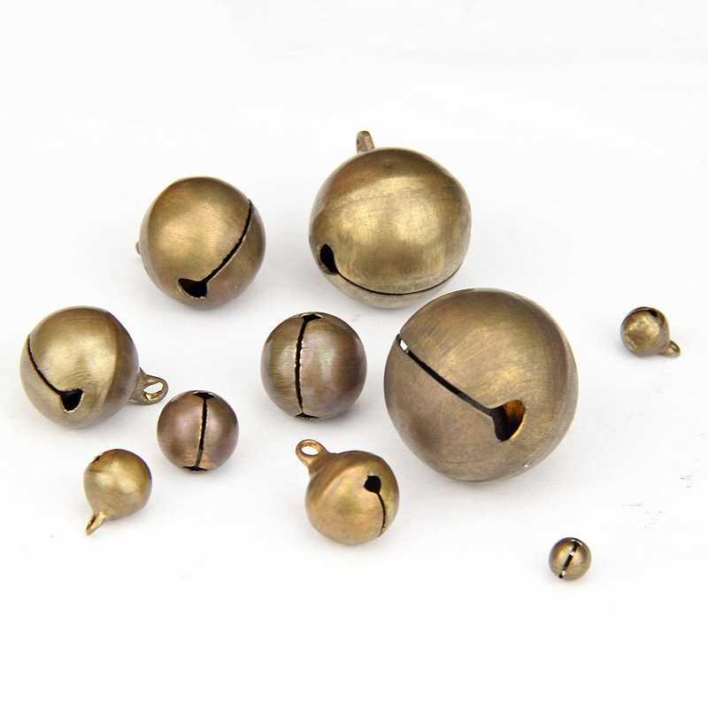 50 unids/lote Vintage Retro 6-28mm cobre cascabeles para fiesta de boda DIY accesorios de joyería hechos a mano adornos de árbol de Navidad