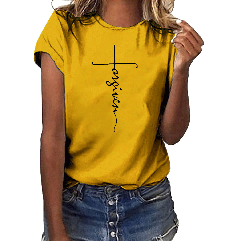 Hillbilly FORGIVEN Letter Print Women T Shirts High Quality Short Sleeve Round Neck Vogue Slim Fit Cute Top Tee Female Tshirts