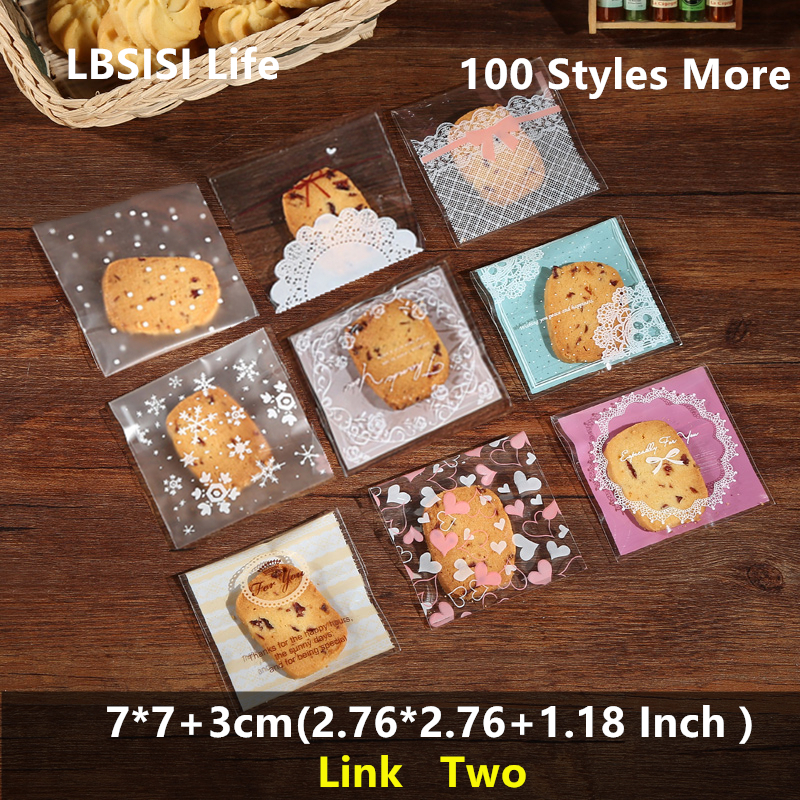 LBSISI Life 100pcs 7*7+3cm Cookies Candy Soap Bags Resealable Gift DIY Food Beans Cookie Handmade Self Adhesive Packing Bag