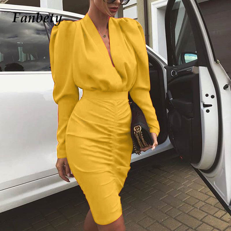 Fanbety Office Lady Autumn Pleated <font><b>bodycon</b></font> <font><b>Dress</b></font> Women Puff Long Sleeve Slim Club Party <font><b>Dress</b></font> Elegant <font><b>Sexy</b></font> V-neck workwear <font><b>dress</b></font> image
