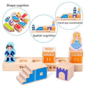 Image 3 - Montessori Camelot Jr Wooden Building Blocks Toys Prince Save The Princess Interactive Games for Kids 3d blocks Christmas Gifts