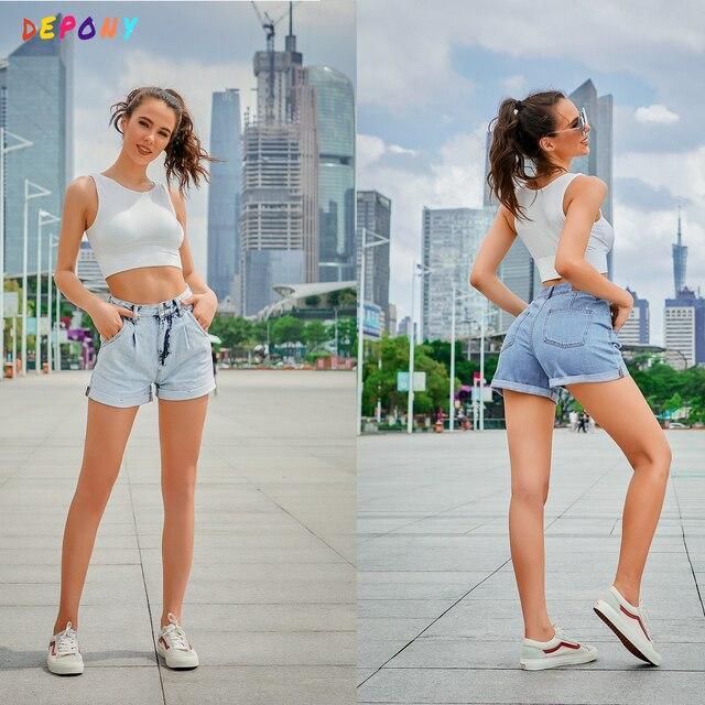 fashion denim shorts women high waist shorts jeans wide leg casual Female shorts Loose Plus size 1