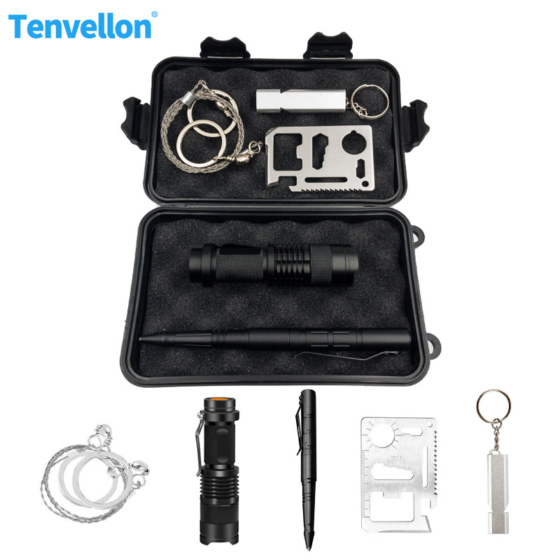 Survival Kits Disaster Relief Supplies Flashlight Tactical Pen Self Defense Supplies Whistle Saw Outdoor Camping Kit