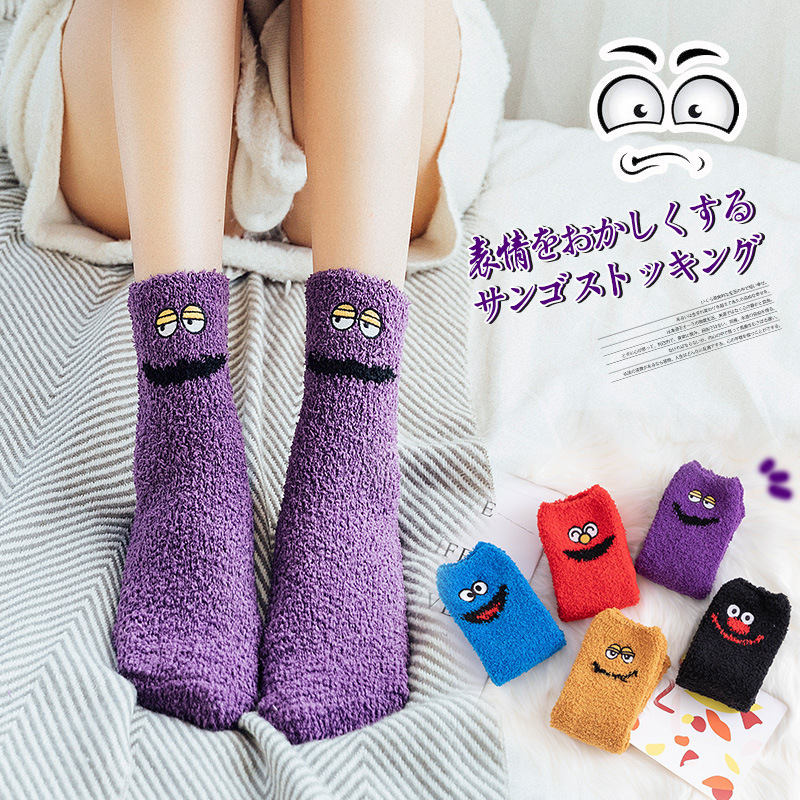 Christmas Socks Harajuku Japanese Fuzzy Socks Women Fluffy Socks Sleep Funny Socks Floor Pink Socks Coral Velvet Winter Socks