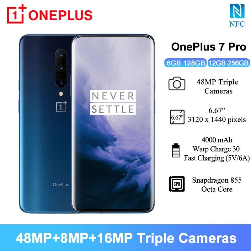 """Küresel sürüm OnePlus 7 Pro NFC akıllı telefonlar 6.67 """"48MP arka kamera Snapdragon 855 Octa çekirdek 4000mAh 6GB/12GB RAM cep telefonları Cep Telefonları    -"""