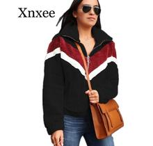 stripe warm  Casual Fleece Sweatshirt Women 2020 Patchwork Zip Faux Fur Oversized Winter Fluffy Hoodie Female Plus Size Pullover plus size stripe faux twinset dress
