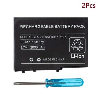 2 uds 3,7 V 2000mAh batería recargable para Nintendo DS Lite NDS...
