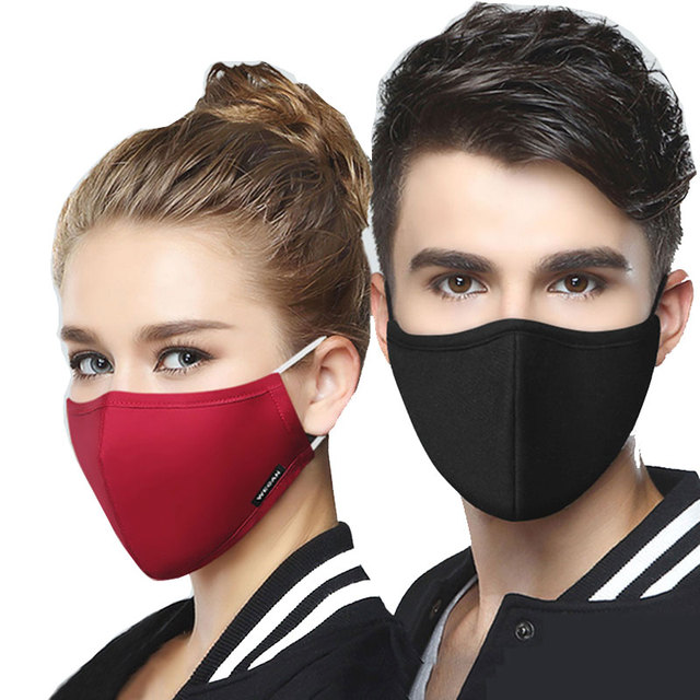Wecan Fabric Face Mask Black Mouth Masks Anti Flu PM2.5 dust Mouth covers Mask mascaras with 6pcs Activated Carbon Filter Mask 5