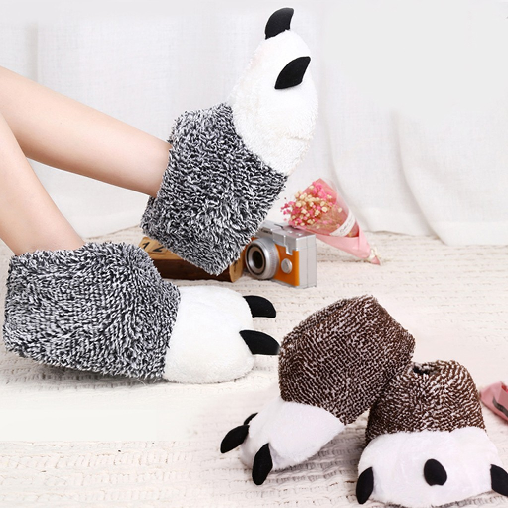 Women Girls Thermal Full Plush Slippers Indoor Slip on Slippers Panda Slippers