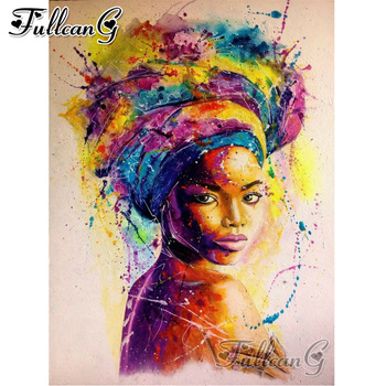 FULLCANG diy 5d diamond mosaic african girl abstract painting full square round embroidery sale decor FC2311
