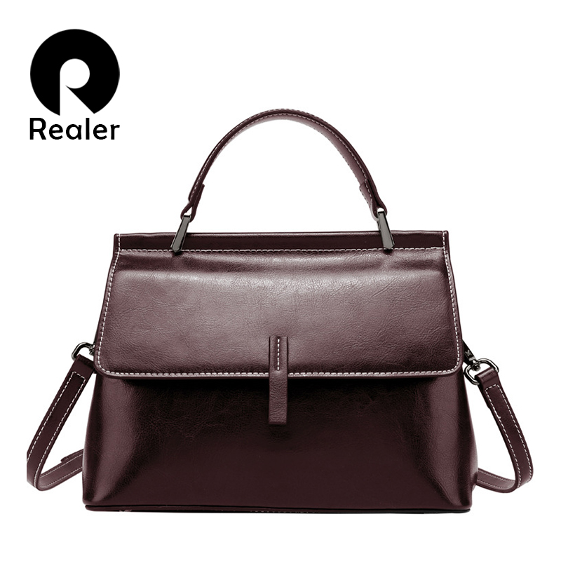 REALER Shoulder Bag For Women Vintage Messenger Bags Ladies Leather Handbag With Top Handle Female Retro Leisure Crossbody Bag