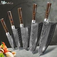Кухонные ножи шеф-повара 8 дюймов японский 7CR17 440C высокоуглеродистая Нержавеющая сталь шлифовальный лазерный узор овощной нож Santoku