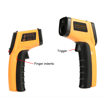 Red Laser LCD IR Infrared Thermometer Non-Contact Digital Pyrometer Temperature Meter Point -50 ~ 380 Degree Thermometer-Gun gm900 non contact lcd ir infrared thermometer digital temperature meter 50 to 900 degree pyrometer surface temperature test