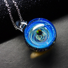 Nebula Galaxy Double Sided Pendant Necklace Glass Art Picture Handmade Statement Universe Planet Jewelry