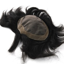 K.S WIGS Men Toupee Fine Mono Base With PU Around Remy Human HairPiece Durable Hair System Color 1B# Comfortable Wig