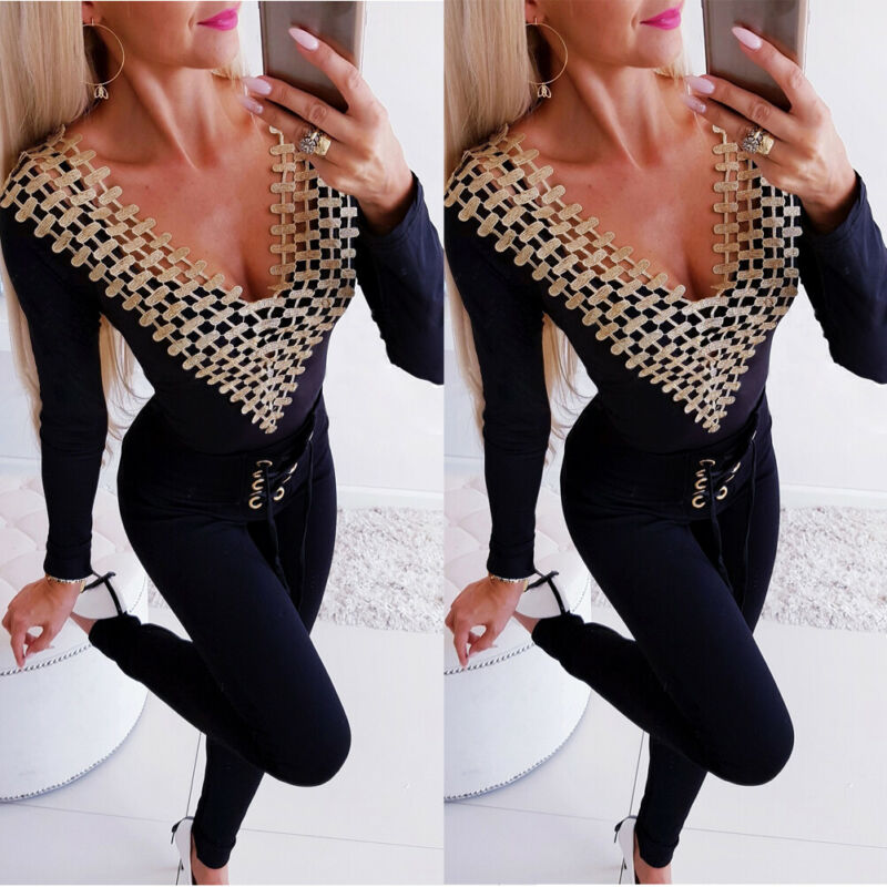 Autumn New Fashion Women Sexy Bodysuit Clubwear V-Neck Playsuit Bodycon Party Jumpsuit Romper Hollow Tops Shorts for female