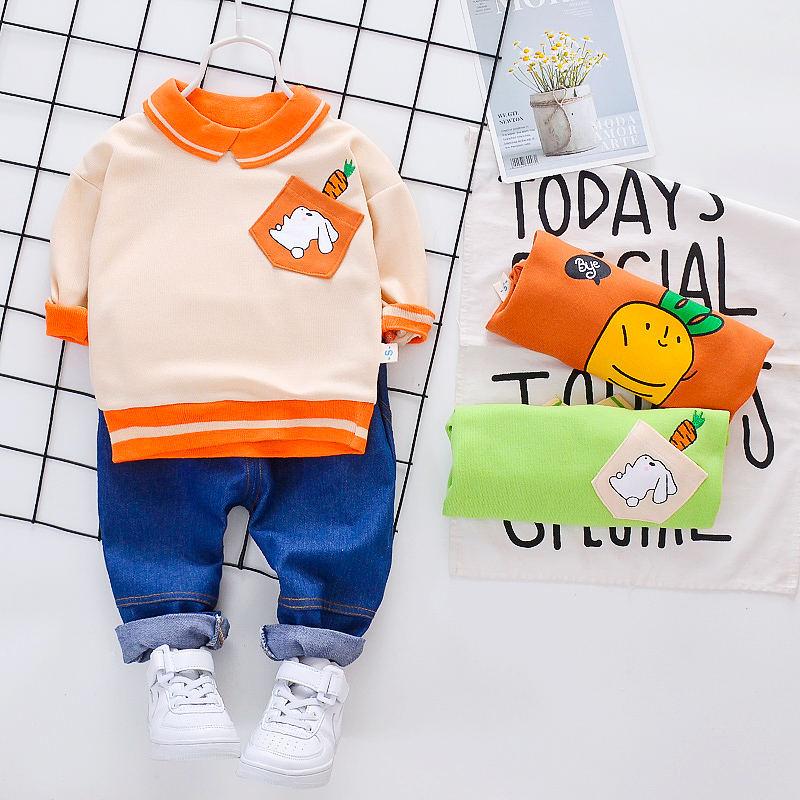 2pcs toddler Kids baby girls clothes cotton outfits tracksuit top+pants cartoon