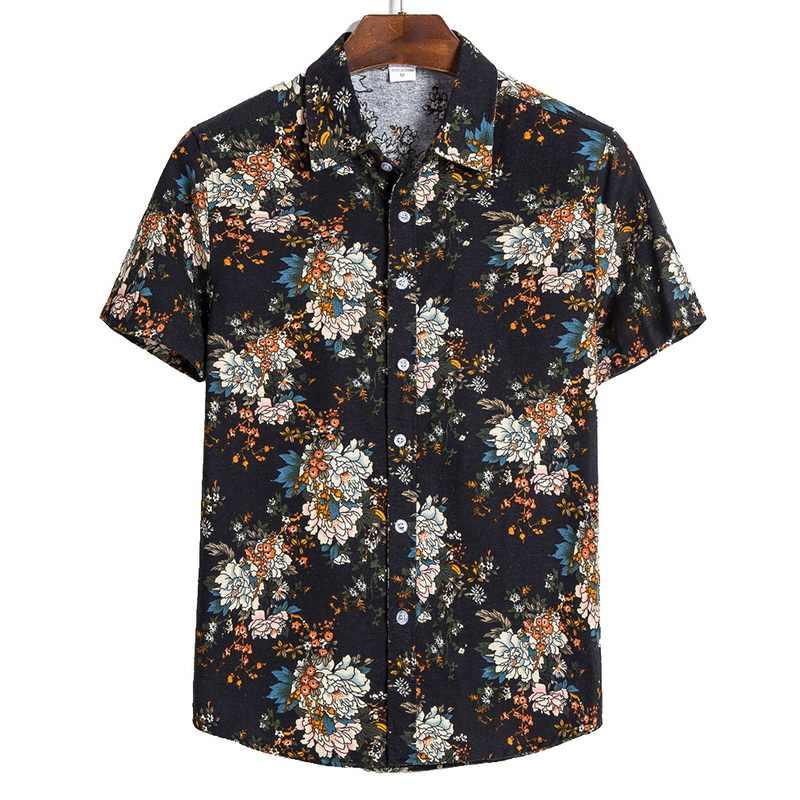 JODIMITTY 2020 男性シャツ半袖プリントカジュアルブラウスアロハシャツ男性トップス夏幾何プラスサイズシャツ 5XL