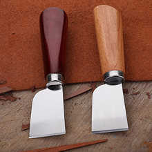 DIY Leathercraft Tool Wooden Handle Stainless Steel Leather Cutting Knife