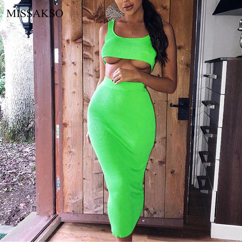 Missakso Two Piece Set Midi Dress Sleeveless Tank Club Fashion Party Summer Women Ribbed Dresses Neon Green Orange Pink 10