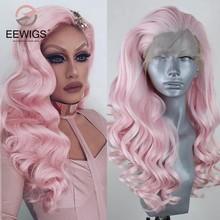 Eewigs 30 Polegada onda solta peruca dianteira do laço sintético com parte livre peruca de alta temperatura do cabelo do bebê rosa para as mulheres drag queen
