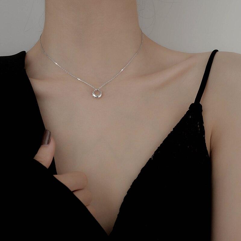 Collier rond argent Sterling offre spéciale pour femmes, mignon et petit, bijoux géométriques simples, cadeau d'anniversaire pour maman, reçu engagement, 925