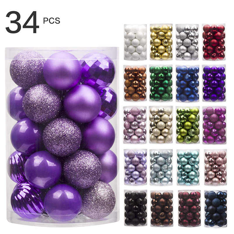 34PC 40mm Christmas Tree Ball Sets  Christmas Decorations Wedding Party Ornaments Xmas Tree Ball Bauble Hanging Ball Decor Gifts