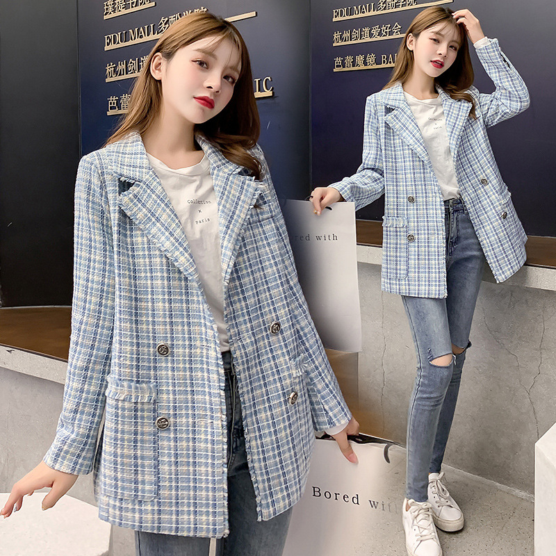 2019 New Autumn Retro Ladies Jacket Suit Korean Version Of The Loose Plaid Woolen Women's Blazer High Quality Office Jacket Top