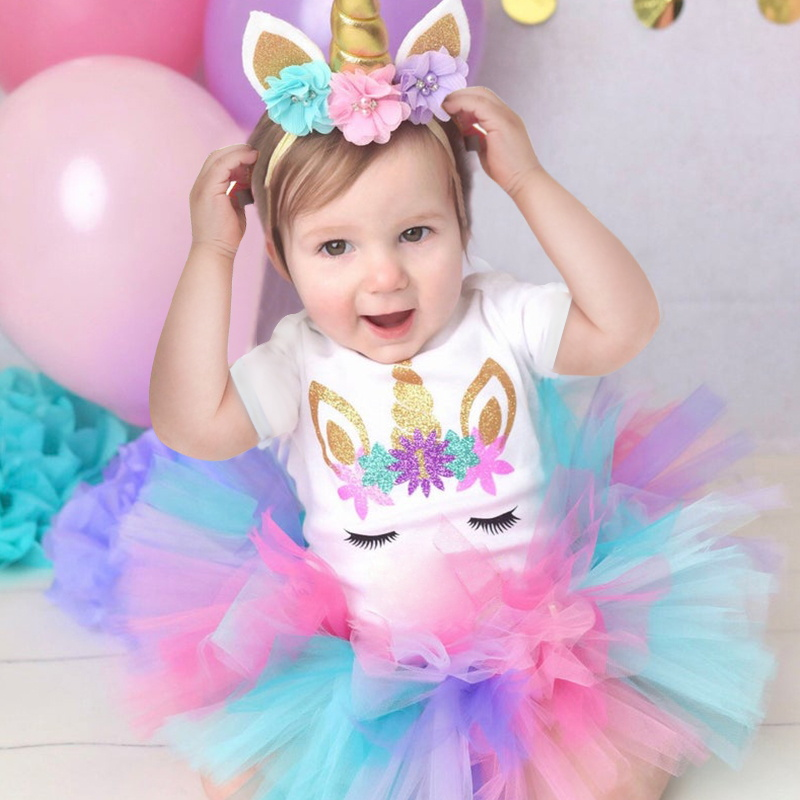 Cute Unicorn Dress For Baby 1 Year Girl Baby Tutu Dress Cotton First Birthday Outfit Infant Girl 1st Birthday Gift For Party
