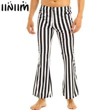 iiniim Mens 60's 70's Retro Vintage Mid Waist Striped Stretch Bell Bottom Super Flares Long Pants Casual Trousers Sexy Panties