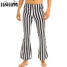 Iiniim Mens 60's 70's Retro Vintage Mid Taille Gestreepte Stretch Bell Bottom Super Fakkels Lange Broek Casual Broek Sexy Slipje(China)