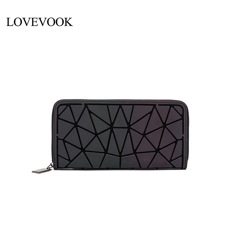 LOVEVOOK Women Wallets Purses For Ladies Long/short Card Horder Female Clutch Money Clip Zipper Geometric Bag Luminous Color