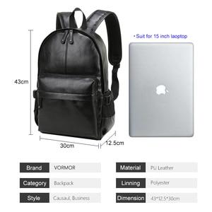 Image 4 - VORMOR mochila escolar de cuero impermeable para hombre, bolso de viaje, informal, de cuero