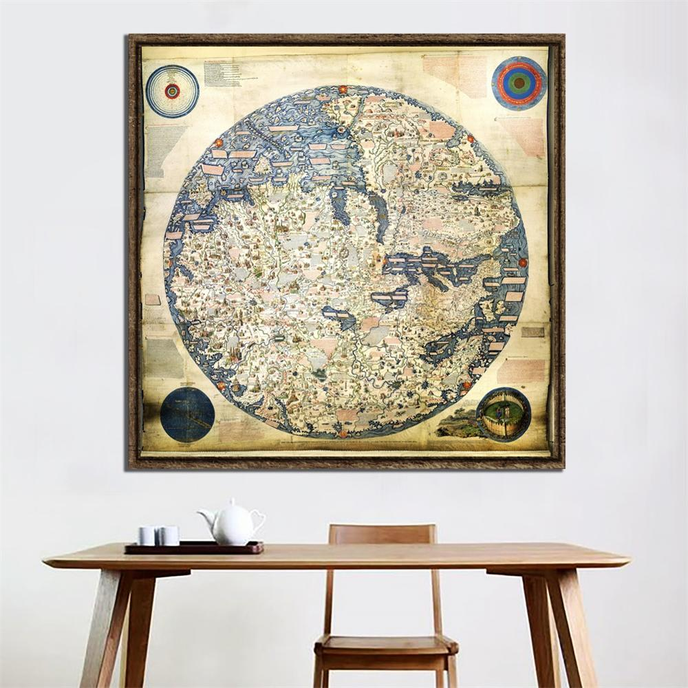 60x60cm Fine Canvas Painting HD Office Bedroom Living Room Wall Decoration Map Vintage Decor Painting