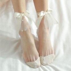 Летние повседневные тонкие носки 2020, прозрачные носки, новые милые однотонные короткие носки в стиле ретро, жемчужные кружевные сетчатые но...
