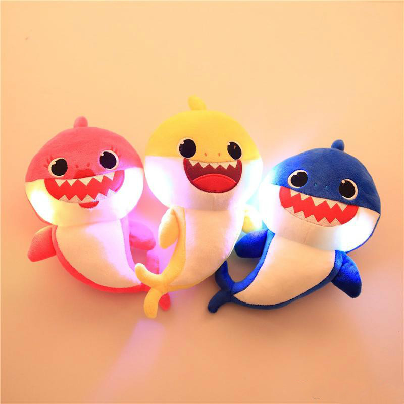 3 Color 30cm Luminous Baby Shark With Music Cute Animal Plush 2019 New Baby Shark Dolls Singing English Song For Children Girl B