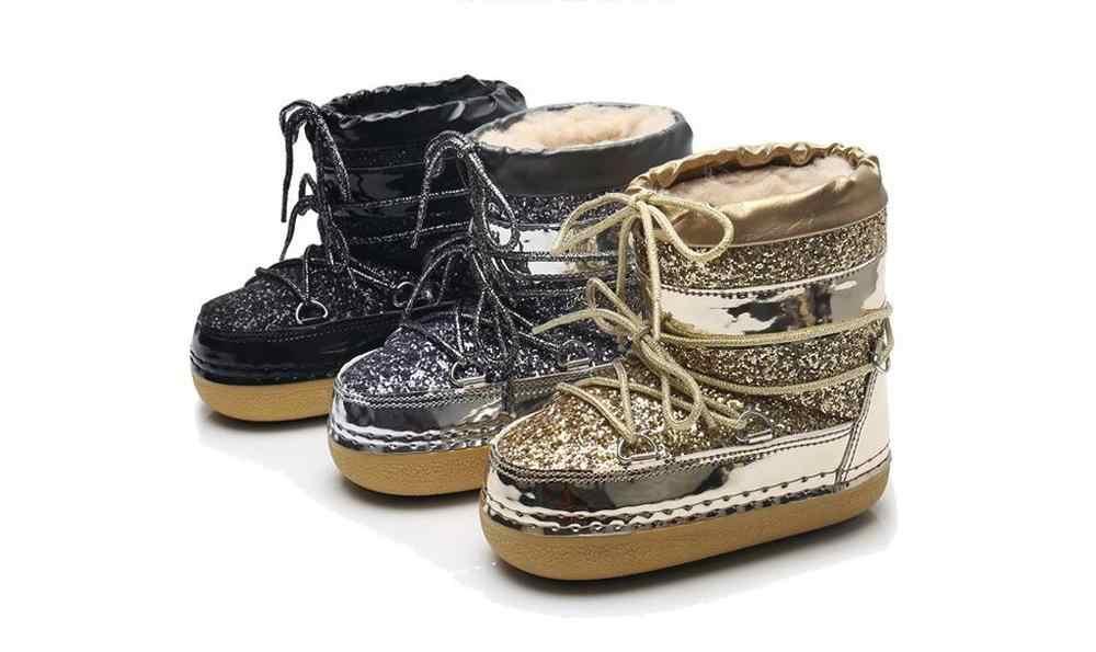 Kadın çocuk kar botları kadın kış sıcak platformu kürk pullu ayakkabı kadın botları Bota yarım çizmeler ebeveyn-çocuk kadın ayakkabı
