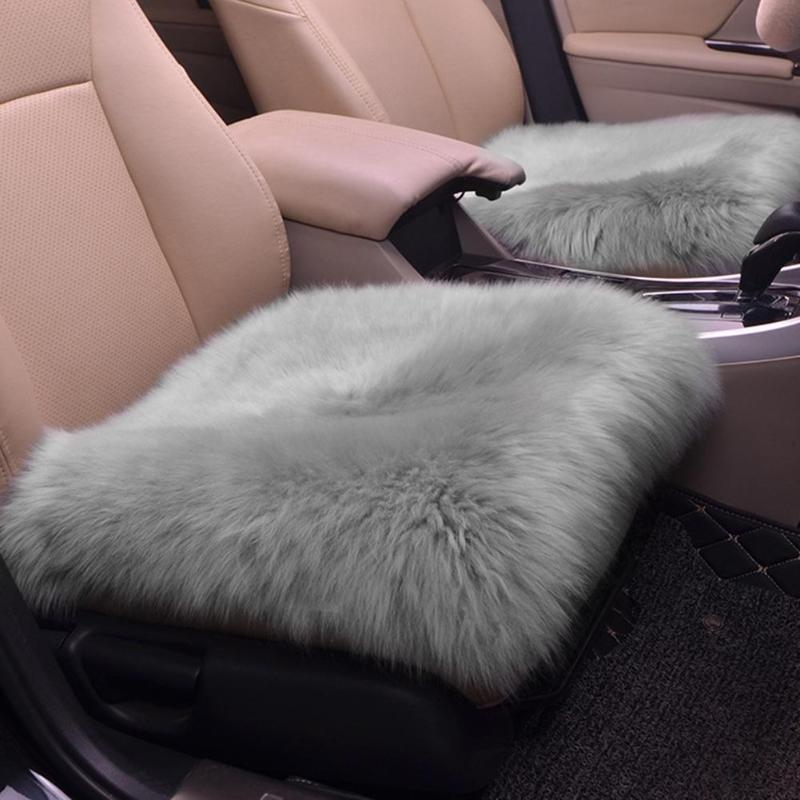 45*45cm Luxurious Natural Fur Authentic Soft Fluffy Wool Sheepskin Car Seat Cover for Automobile Interior Accessory Seat Cushion