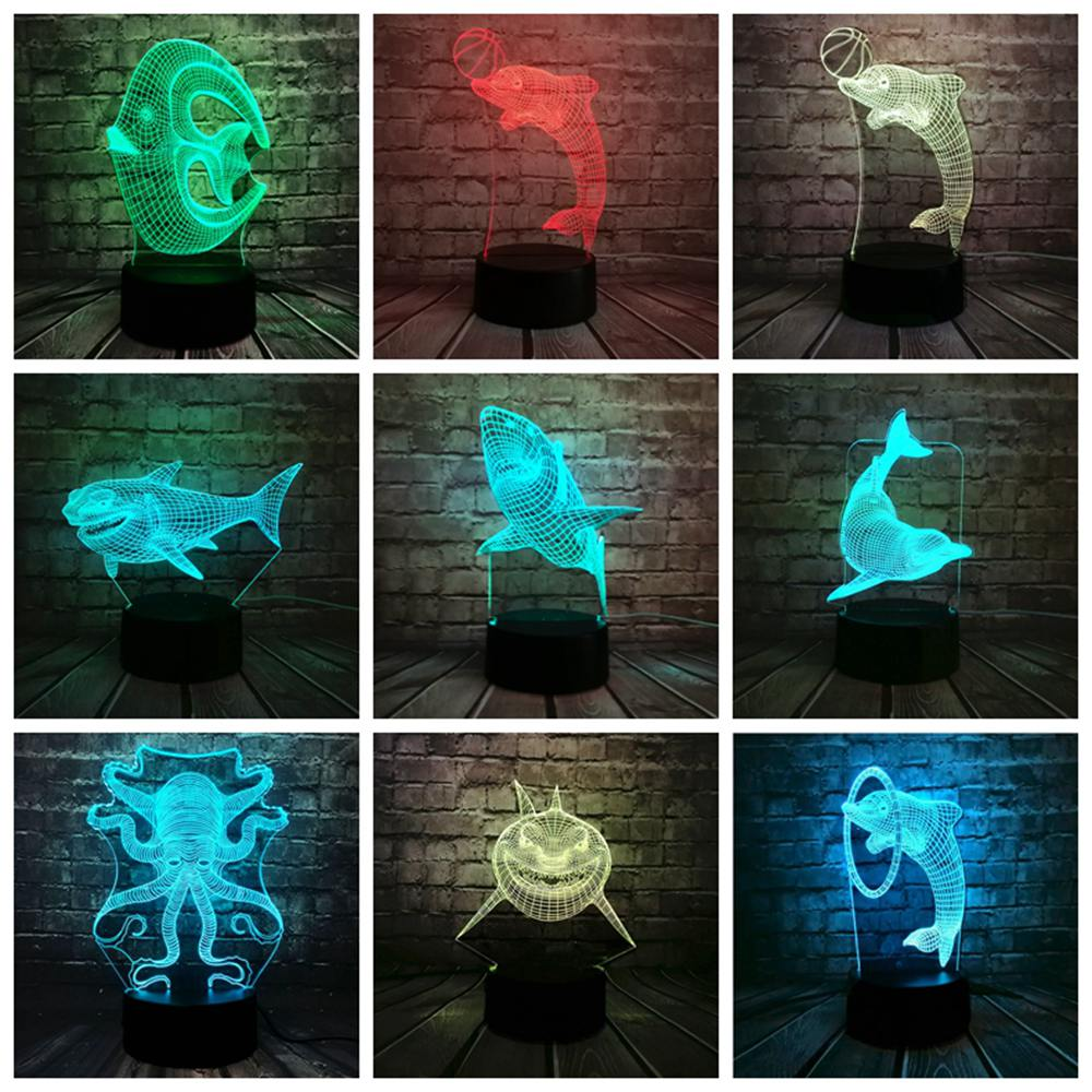 Marine Animal 3D Lamp Fish Dolphin Shark Visual Illusion Multicolor Gradient Night Light Home Decor Kids Holiday Gifts Luminaria