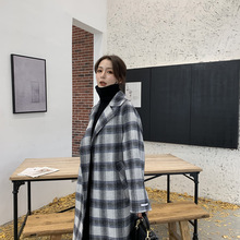 New version of the explosive women autumn wool plaid stitched open fork double-sided hand-stitched cashmere coat 2019