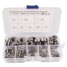 380-упаковка, нержавеющая сталь плоский ассортимент шайб набор(M2 M2.5 M3 M4 M5 M6 M8 M10) 8 различных размеров для домашнего автомобиля