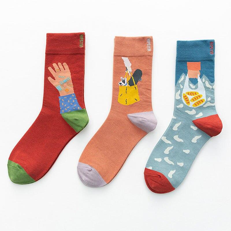 Unisex Painting Style Women Socks 100 Cotton Harajuku Colorful Kawaii Full Socks Women1 Pair Streetwear Size 35-43