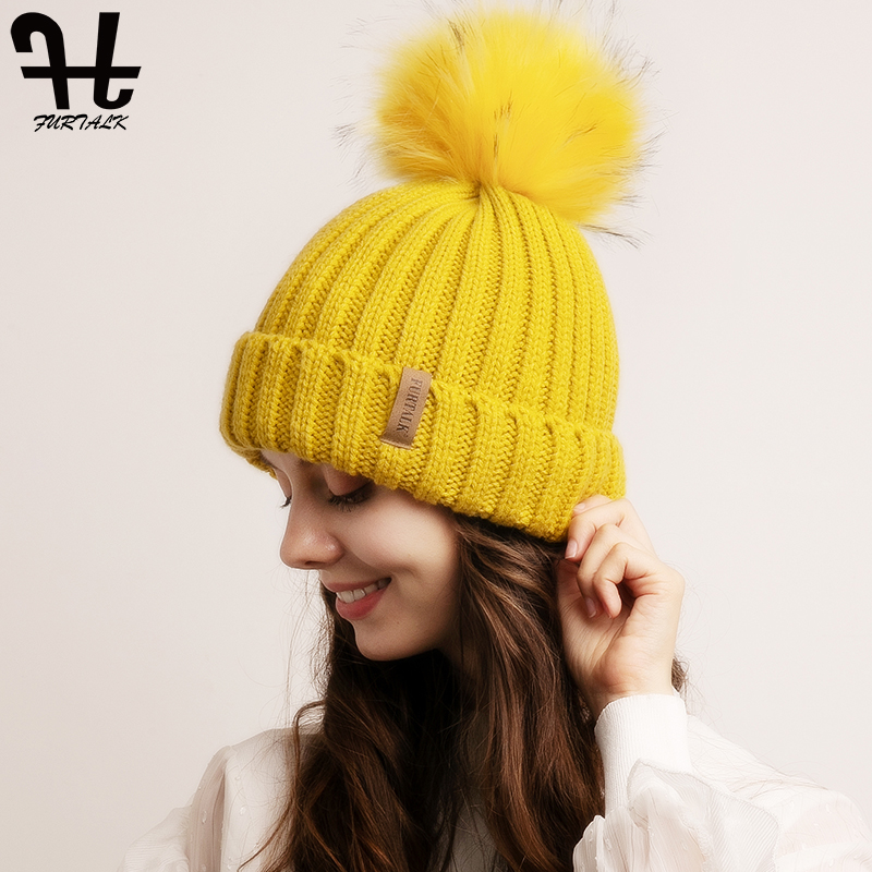 FURTALK Winter Beanie Hat Women Knitted Faux Fur Pompom Hat Velvet Winter Hats For Ladies Soft Yellow Red Korean Caps For Female