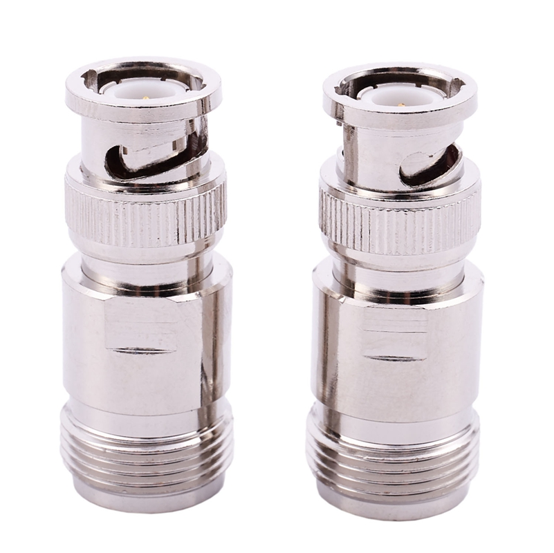 2 Pcs N Type Female To BNC Male RF Coaxial Coax Adapter Connector Silver