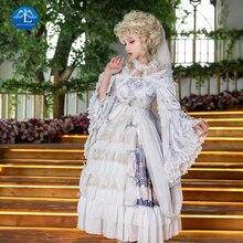 цена на Light Purple Lolita Dress Flare Sleeve Lace Stand Collar Ruffle Princess Lolita Dresses Cosplay Loli Cos