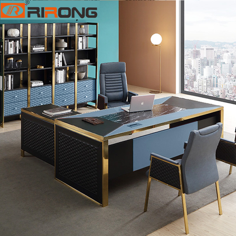 Blue Red Luxury Modern Home Office Furniture Design Gold Computer Leather Table Office Table Set Standing Table Desk With Drawer Aliexpress