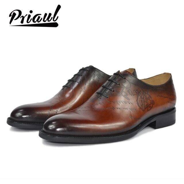 Dress Shoe Men Genuine Leather Vintage Retro Custom Blake Handmade Office Fashion Formal Wedding Party Oxford Shoes