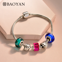 BAOYAN Friendship Bohemian Crystal Bead Bracelet Women Cute DIY Girl Heart Charm Bracelets Stainless Steel Snake Chain